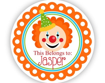 Name Label Tag Stickers - Fun Orange Carnival Circus Silly Clown Personalized Name Label Stickers - Round Tags - Back to School Name Tags