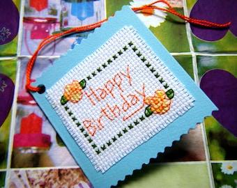 Cross Stitch Birthday Tag/Mini Birthday Card
