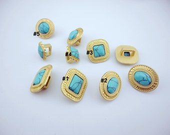 5 pcs/Lot 10.3mmx6.2mm Matte Golden Slider Spacer Snap With Turquoise Stone Jewelry Findings for Licorice leather bracelet