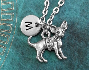 Chihuahua Necklace, Personalized Necklace, Chihuahua Pendant, Custom Necklace, Purse Dog Necklace Monogram Necklace Chihuahua Charm Necklace