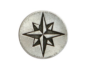 2 Compass Rose Star 5/8 inch ( 15 mm ) Pewter Metal Buttons Antique Silver Color