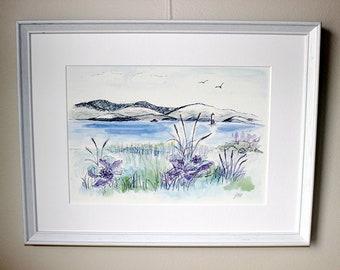 Scandinavian seaside scenary Art print A4 - from original water color