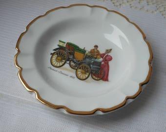 stunning vintage French Limoges porcelain heavy square shaped ashtray