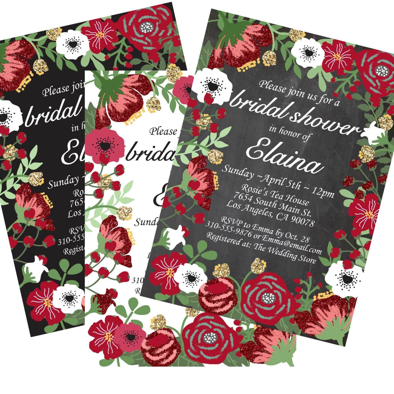 Floral Bridal Shower Invitation Red Flowers Bridal Shower