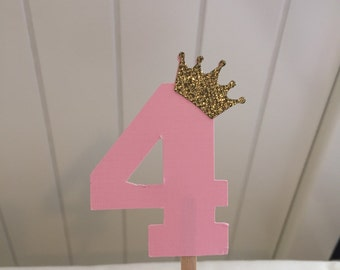 Pink # 4 with gold crowns cupcake toppers- set of 12