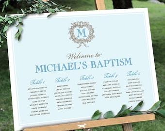 Taufe Sitzgelegenheiten Diagramm Druckbare Monogramm Blau Printable Zeichen Poster