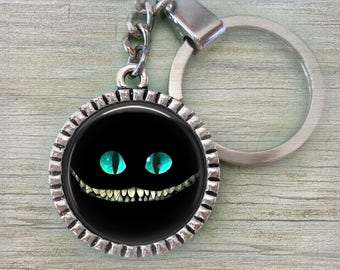 Cheshire Cat Keychain, Alice in Wonderland Fans, Men, Women, Teens, Black Cheshire Cat, Cheshire Cat Grin, Cat Lover Gift, Crafted with Love