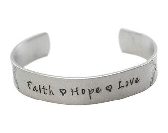 Faith Hope Love Hand stamped cuff bracelet