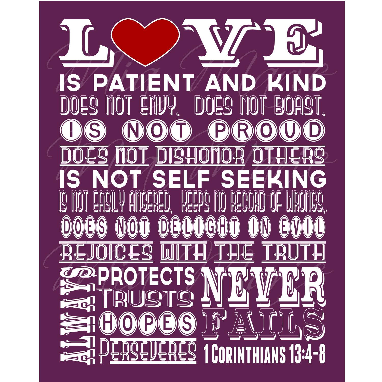 Love Is Patient Scripture Art 1 Corinthians 13 Christian