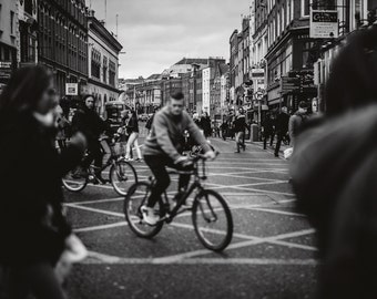 Bicycle in Busy Dublin City Street Black and White Irish Fine Art Photography Photo Picture Deep Matte Living Room Print Ireland