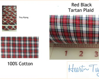 Red Black Tartan Plaid 58W 100% Cotton Fabric or Piping BTY
