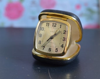 EUROPA 2 Jewels Gorgeous Little Vintage Folding Travel Alarm Clock in Black and Gold. Perfect Working Order (A17)