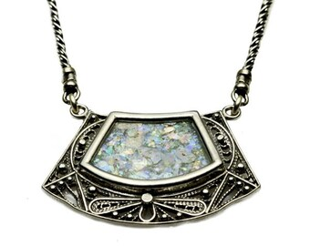 Trapezoid shaped Roman Glass Necklace in Silver