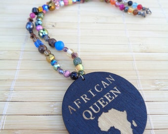 African Pendant Necklace,Afrocentric Jewelry,,Artisan Necklace,Afrocentric Necklaces,African Necklaces,African Jewelry,Colorful Necklace