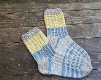 Hand Knitted Wool Socks -Colorful for Women - Size Large-US W10-10,5,EU42