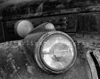 Vintage Car Photograph, Old Car Photo, Photography, 1946 Chevy, Vintage, Black & White Photography