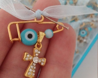 Baby boy baptism pins Evil eye pins Rhinestone cross martyrika on safety pins Martirika mati Baptism guests favors greek baptism souvenirs