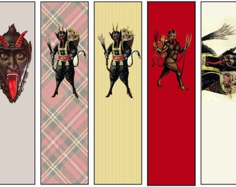 Krampus Bookmarks for download, Christmas -digital collage