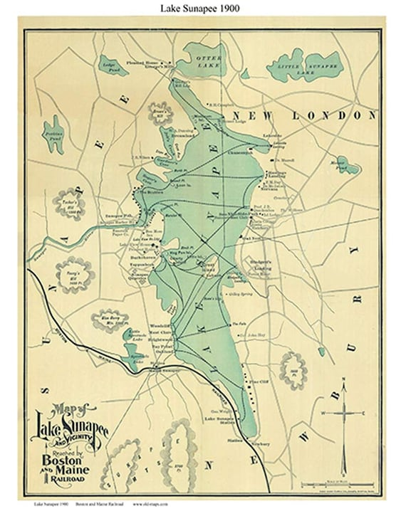 Lake Sunapee 1900 Map Boston and Maine Railroad Reprint