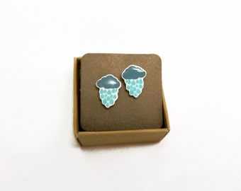 Rainy Day Cloud stud earrings Cloud with rain drops earrings