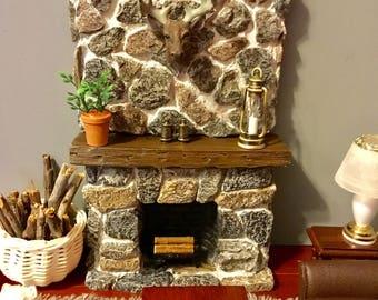 Dollhouse Miniature Stone Fireplace With Logs