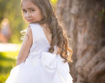 White Christmas Dress with Big Bow in Back