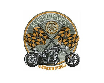 Motobike Speed Fire embroidery design / embroidery designs / INSTANT download machine embroidery pattern