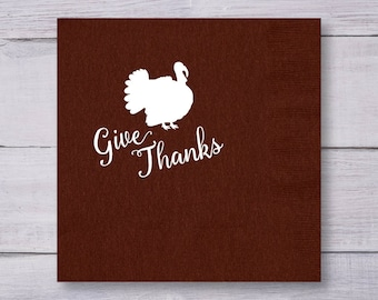 Dinner Napkins, Thanksgiving Napkins, Custom Napkins, Party Napkins, Personalized Napkins, Thanksgiving Decor, Give Thanks, Turkey, 1422