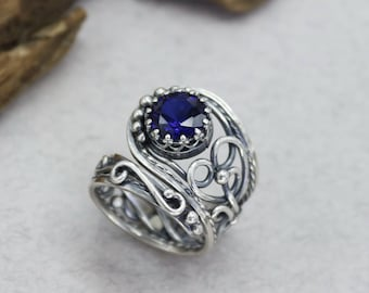 Blue Sapphire Ring Sterling Silver Sapphire Ring Antique Ring for Women Wire Wrapped Ring Anniversary Ring Sapphire Silver Ring Elegant ring