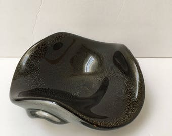 Italian Glass Alfred Barbini Bowl Black Aventurine