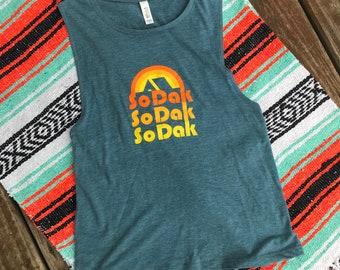 SoDak Women's Muscle Tank - Women's South Dakota Heather Teal Muscle Tank - SoDak Retro Camping Women's Boyfriend Tank Oh Geez! Design
