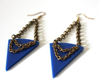 Royal Blue and Gold Tribal Earrings