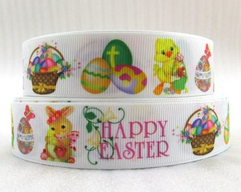 "Happy Easter 1"" Grosgrain Ribbon By the Yard Cross Bunnies Chicks Eggs"