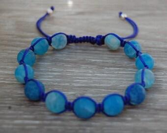 Blue Agate Bracelet,Gemstone 10mm Beads,Shamballa Bracelet,Yoga,Meditation Bracelet,Gemstone,Man,Women,Beaded Jewelry,Gift,Ethnic Bracelet