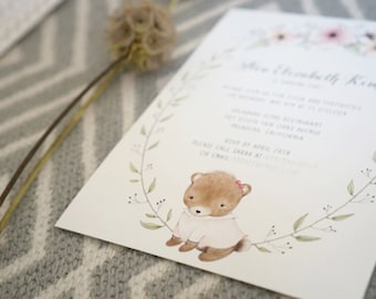Floral Brown Bear Invitation / Baby Bear in the Garden / Baby Shower / Girl's Birthday / Boy's Birthday Invitation / Dol / PDF Printable
