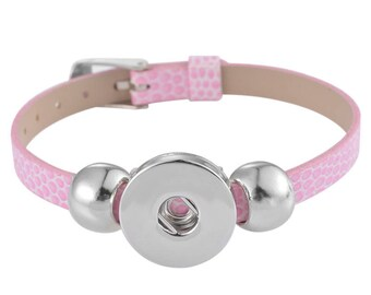 """""""Pink"""" for snap button leather bracelet"""