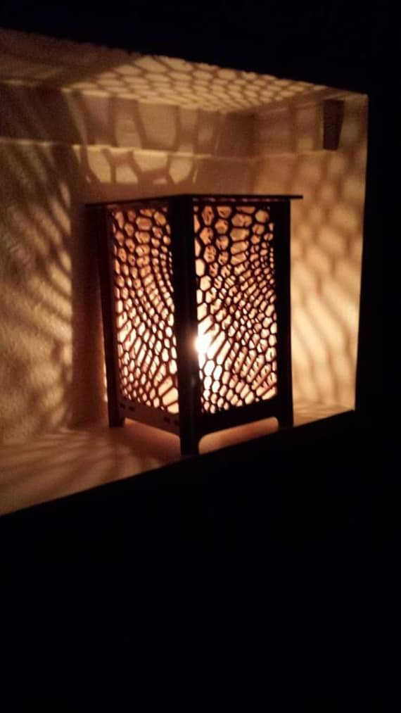 Table Lamp, Laser Cut Candle Holder, Honeycomb Pattern, Candle Holder, Table  Lamp, Night Light