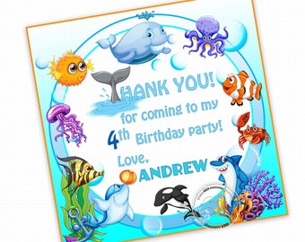 """Under the Sea 2.5"""" Custom PRINTABLE Thank you Tags- Ocean Fishes Personalized Square Thank you Tags-Stickers- Printable tag-Digital file"""