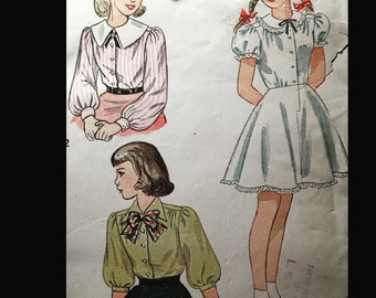 Vintage 40s Puff Sleeve Button Front Pilgrim Collar Blouse Slip Petticoat Girls' Sewing Pattern  B30