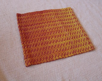Handwoven Large Accent Coaster, Red Coaster, Handwoven Accent Mat
