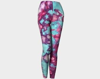 Tie Dye Leggings-Women's Leggings-Capri Leggings-Colorful Purple Pink Blue Leggings-xs, s, m, l, xl