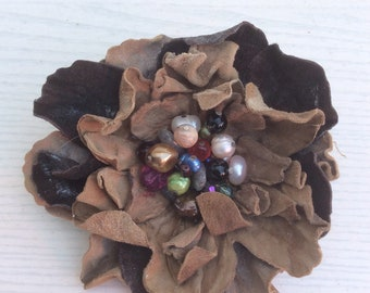 Leather Flower, Brooch  Pin, handmade, semi-precious stones, freshwater pearls. Original