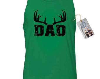 Dad With Antlers Father's Day Gift Mens Tank Top T-Shirt