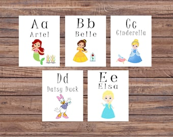 Flash Cards, Princess, Alphabet Cards, Learning Toys, Educational Toys, Printable Cards, Nursery Decor, Instant Download, Printable Download