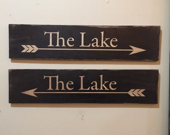 The Lake Sign - directional primitive vintage rustic distressed worn with arrow