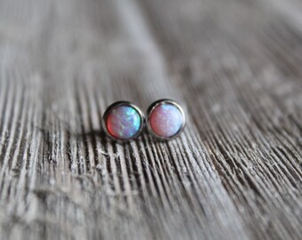 Pink Opal Stud Earrings   downbytheseaglass
