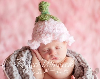 Pink Bell Hat Baby Newborn Crochet Photography Prop
