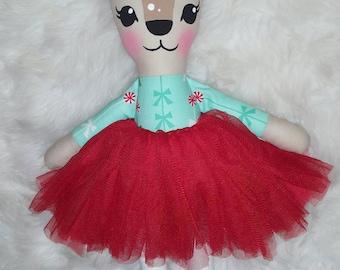 Reduced - Tinsel the Christmas reindeer doll - handmade softie