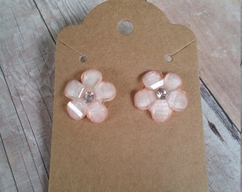 Peach Flower Stud Earrings, post earrings, peach flowers, rhinestone center, gift ideas, Mother's Day gifts, gifts for her, graduation gifts