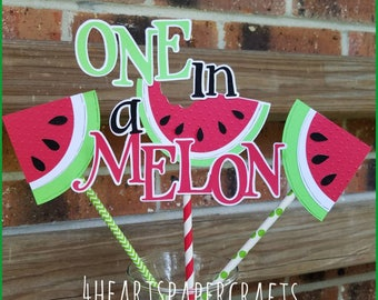 One in a Melon Cake Topper, Watermelon Centerpiece